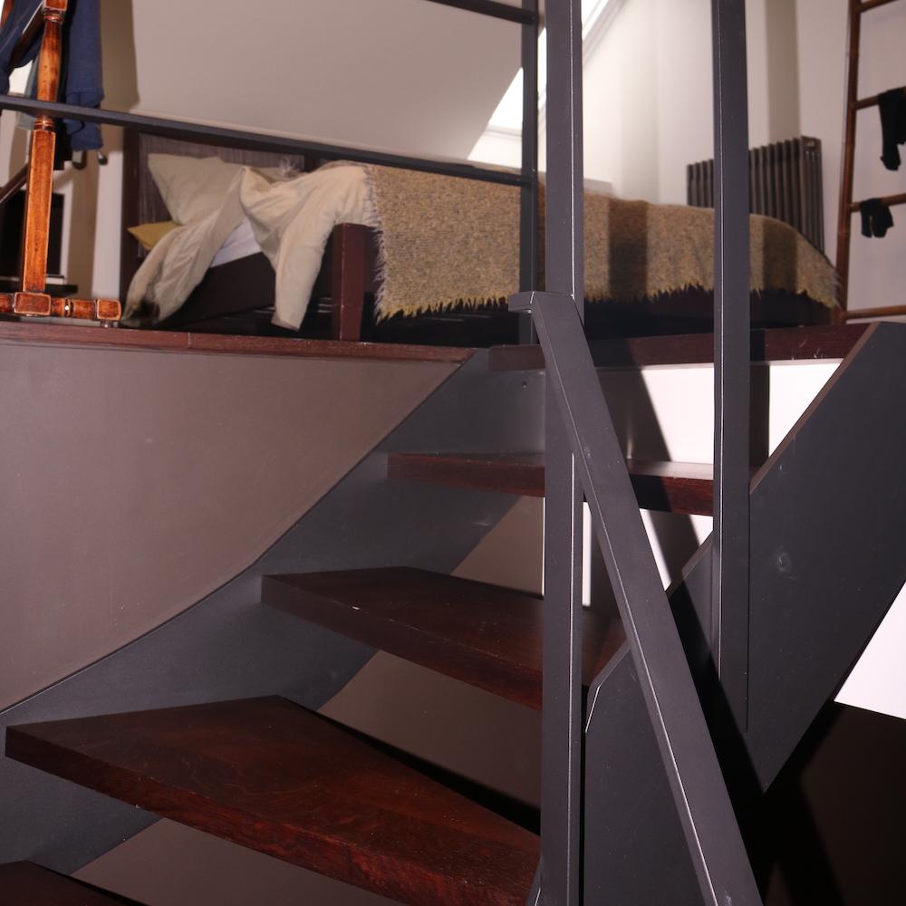 Escalier en bois et acier